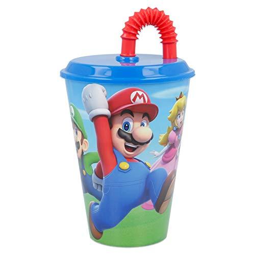 Bicchiere Sport con Cannuccia 430 ml per Bambini in plastica (Super Mario)