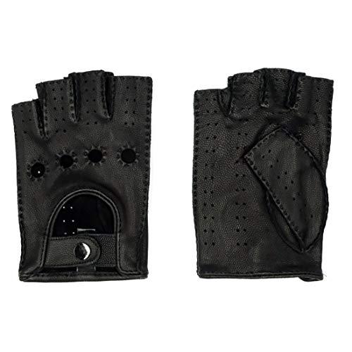 Harssidanzar Herren Ziegenleder Fingerlose Handschuhe ungefüttert Half Finger Driving, Schwarz, M