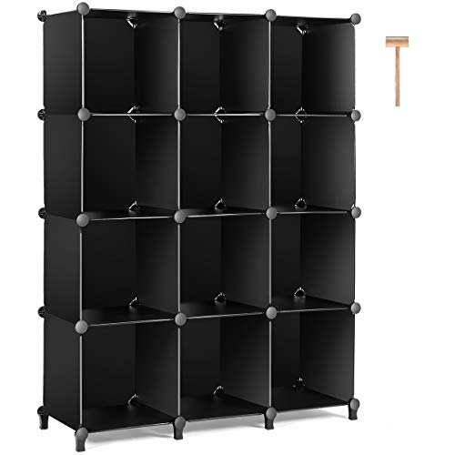TomCare Cube Storage 12Cube Bookshelf Closet Organizer Storage Shelves Shelf Cubes Organizer Plastic Book Shelf Bookcase DIY Square Closet Cabinet Shelves for Bedroom Office Living Room Black