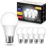 E27 LED fria, JandCase 13W E27 bombillas LED de rosca Edison, 1200 lúmenes, equivalente a 100W bombilla incandescente, 6000K blanco frio, A60 bombilla ahorro de energía, no regulable, 6 Unidades