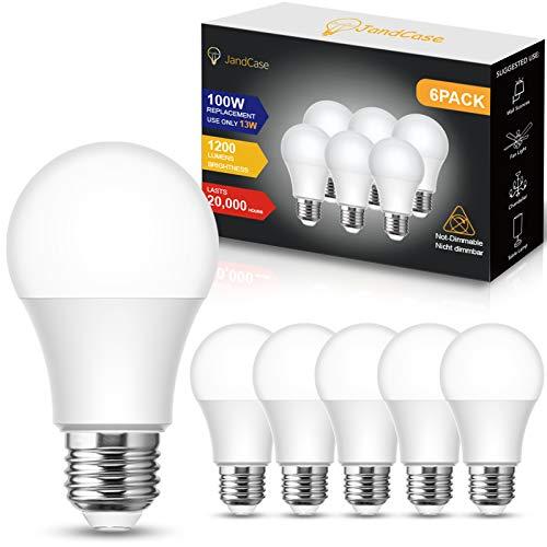 JandCase E27 LED Lampe, A60 E27 Glühbirne 1200LM, 13W (ersetzt 100W), Kaltweiß 6000K, Nicht Dimmbar, 6er-Pack