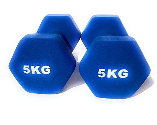 Mancuernas de Neopreno Gimnasio y Entrenamiento en Casa Fitness Pilates Musculación Gym Aire Libre Pesas Hexagonales Mate 2/3/4/5 Kg (Azul, 5 Kilogramos)