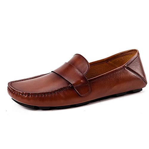 Rui Landed ÏôÏô Soft Low Top Casual Loafer Shoes for Men Oxford Shoes Premium Genuine Leather Round Toe Flats Heel British Slip On Style (Color : Brown, Size : 10 M US)