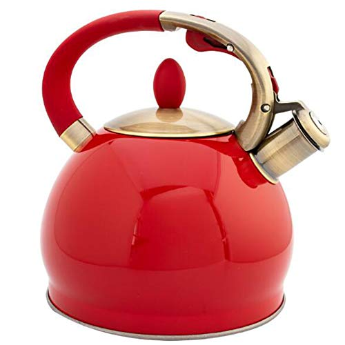 ALY 3.5L Whistling Tea Kettle Food Grade Stainless Steel Tea Kettles stovetop Whistling for Boiling Water Making Coffee Making Tea etc,Red