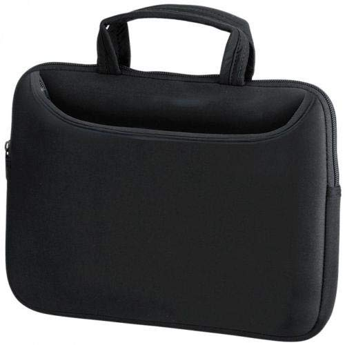 Laptop Bag Internal Pocket Zipped Front Pocket Padded Handles Carry Case Bag#(Black Laptop Bag QD834#S)