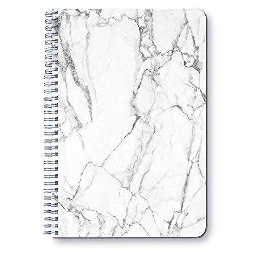 White Marble With Black Line - A5 Round Spiral Notebook - Ruled Notebook/Journal - Lined Journal - 5.83' X 8.27' Hardcover Books - College Ruled Spiral Notebook/Journal - Rough Draft Spiral Notebook