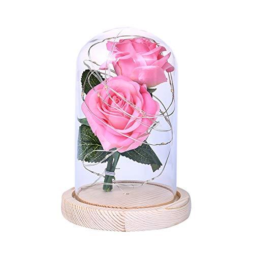Rosenblüte in Glaskuppel mit LED-Lichterkette, Geschenk für Geburtstag, Hochzeit, Valentinstag, Muttertag, Jahrestag rose