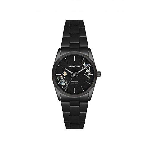 Zadig & Voltaire ZVF417 - Reloj de pulsera de cuarzo, unisex, impreso, 36mm, acero inoxidable, plateado