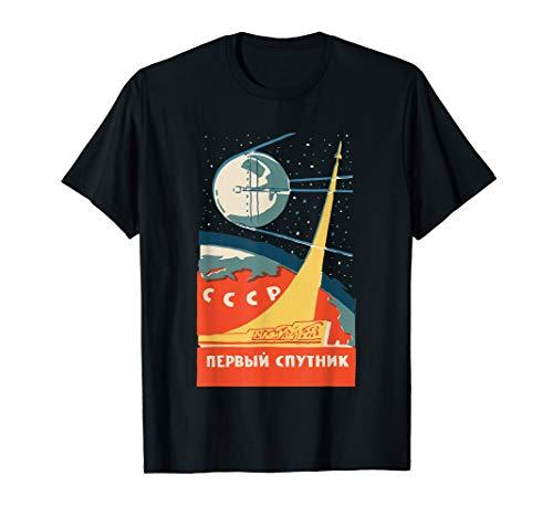 Sputnik USSR Vintage Poster T-Shirt Communist USSR Space