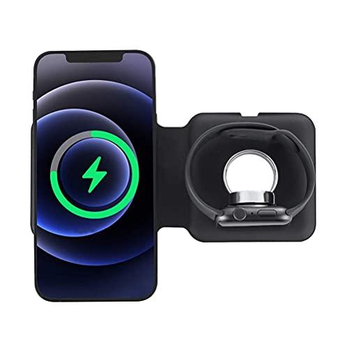 Olaffi 2 en 1 Cargador inalámbrico, Soporte de Carga inalámbrico rápido de 10W Qi para iPhone 12 Pro MAX 11 Pro MAX XS XR X 8 Plus