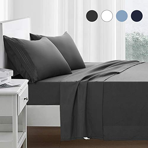 RYONGII Full Size Sheet Set - 4 Piece - Super Soft Microfiber Bed Sheets - Fade Resistant Hotel Luxury Bedding - Hypoallergenic – Wrinkle Resistant - Deep Pocket(Dark Gray, Full)
