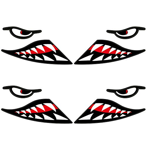 4 Pieces Shark Teeth Mouth Reflective Decals Waterproof Kayak Stickers Funny Graphics Stickers for Car Kayak Canoe Fishing Boat Truck Decoration