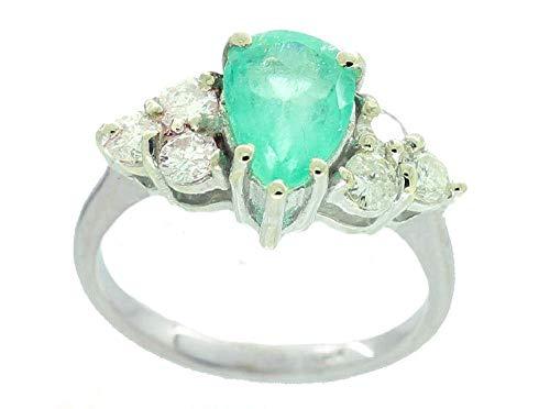 1.94ct esmeralda colombiana y diamante anillo en racimo 14 K oro blanco