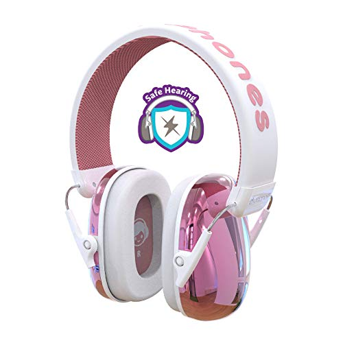 ONANOFF BuddyPhones Guardian Kids Ear Protection Earmuffs, Passive Noise-Cancellation for Safe Hearing Levels, Designed for Noise Reduction 26dB NRR, Perfect for Toddlers, Children, and Teens, Pink