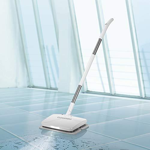 CLEANmaxx Bodenwischer mit Vibrationsfunktion | Akku-Vibrationsmopp, inkl. LED Beleuchtung | Akkulaufzeit bis. 50min [Hochwertiger Kunststoff] (Weiß)