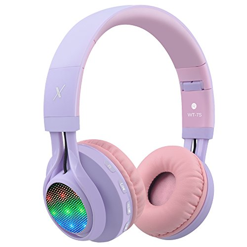Riwbox WT-7S bluetooth - koptelefoon, geleid lingt op opvouwbare stereo draadloos - koptelefoon met microfoon en volumeregeling voor pc/iPhone/iPad/tv over-ear Lila, Rosa