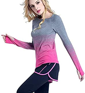 BEESCLOVER Women Quick Dry Sport Shirt Long Sleeve Breathable Exercises Yoga Top T-Shirts Running Fitness Color hot Pink Asian M