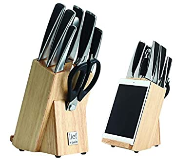 lief + svein 9 Pc Knife Set with Block. 1.4116 German Stainless Steel Kitchen Knife Set. UltraSharp Cooking Knives Set for Kitchen. Ideal Chef Knife Set or Home Cooking Knife Block Sets