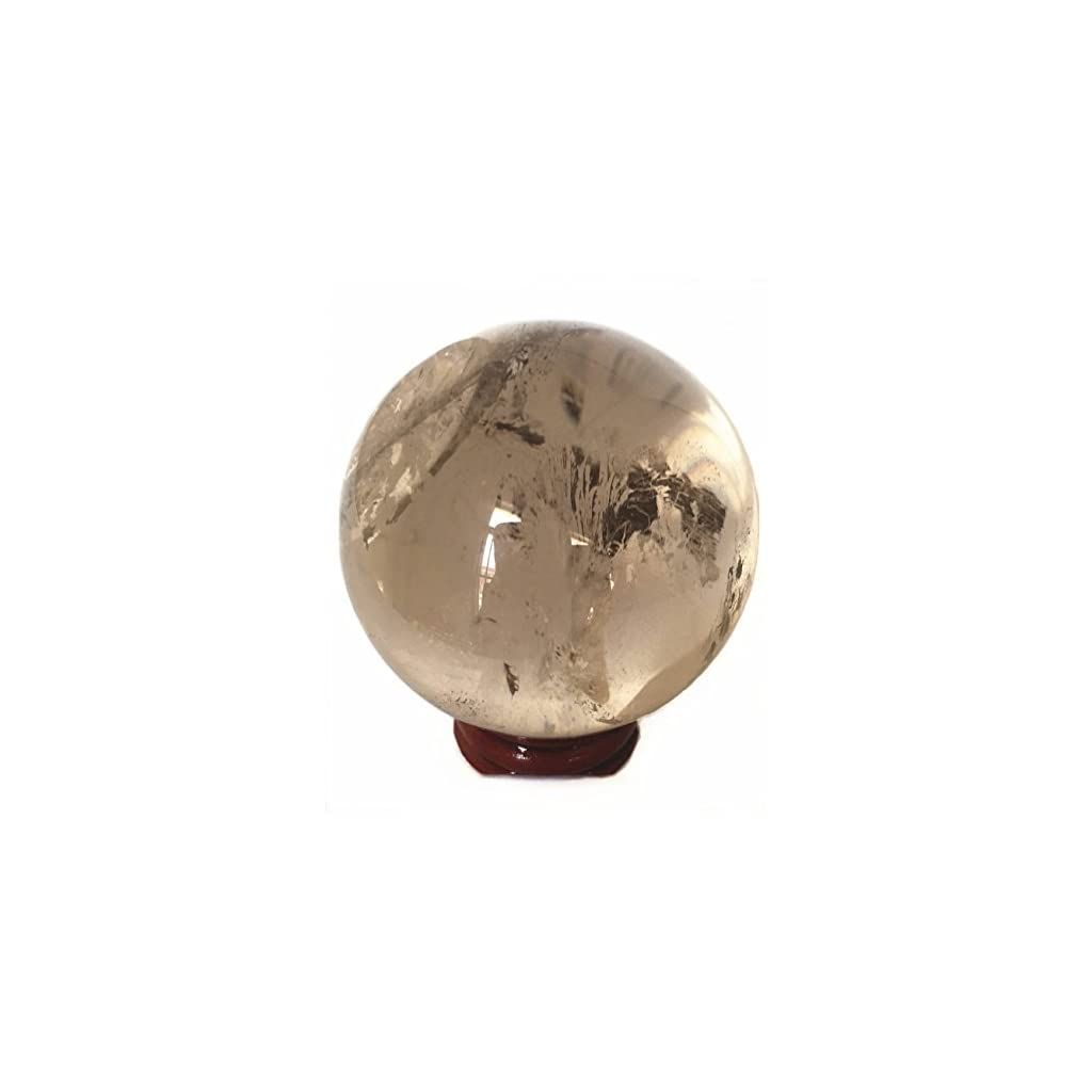 Smoky Quartz Crystal Ball with Wood Stand