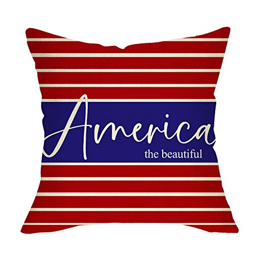 Fbcoo The Beautiful America Home Decorative Throw Pillow Cover, Red White Blue USA Flag Patriotic...