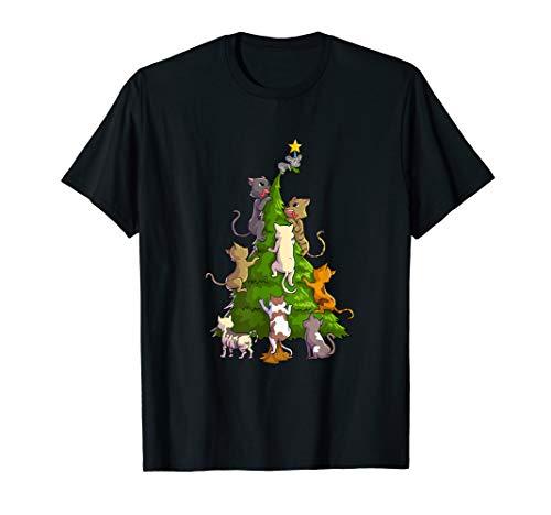 lustig katzen auf weihnachtsbaum jagen maus T-Shirt