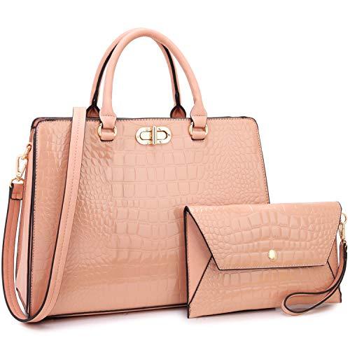 Dasein Women Handbags Fashion Satchel Purses Top Handle Tote Work Bags Shoulder Bags with Matching Clutch 2pcs Set (alligator pink)