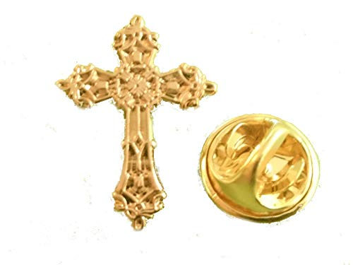 Christian Cross Lapel Pin Badge Religious Church Brooch Gold Plated