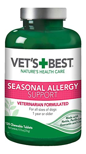 Vet's Best Seasonal Allergy Relief | Dog Allergy Supplement | Relief from Dry or Itchy Skin | 120 Chewable Tablets
