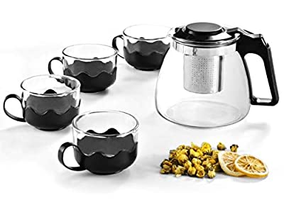 Teapot with Infuser and 4 Glass Cups set,Glass Tea Maker Kettle with Strainer Blooming Loose Leaf tea pot set