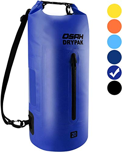 OSAH DRYPAK Premium Bolsa Estanca Seca Impermeable 5L 10L 15L 20L 30L para Kayak Barco Pesca Rafting Playa Acampar Natación Deriva (Púrpura Claro, 30L)