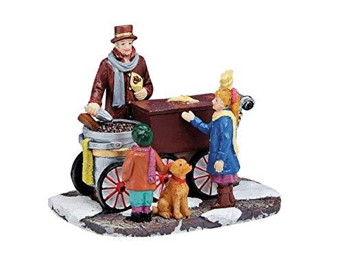 meindekoartikel Weihnachtliche Miniatur-Figuren Winterwelt-Szene aus Poly – Marktstand Maronen-Stand B9 x T7 x H7 cm