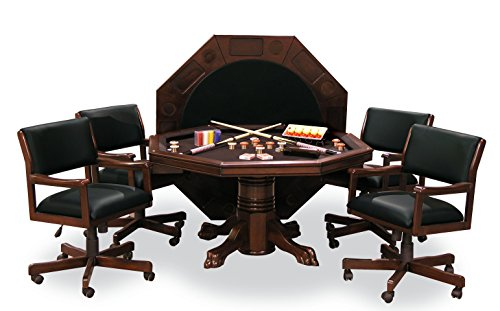 """54"""" Combination Game Table Set w/ 4 Chairs (Mahogany)"""