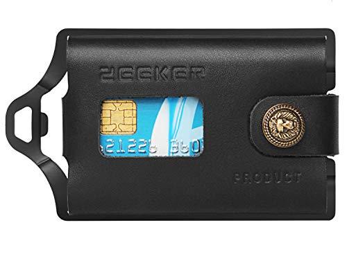 Zeeker Metal Wallet Front Pocket Wallet Slim Card Holder Wallet Men Card Case Aluminum with Money Clip Paracord for Cards and Cash (Black)