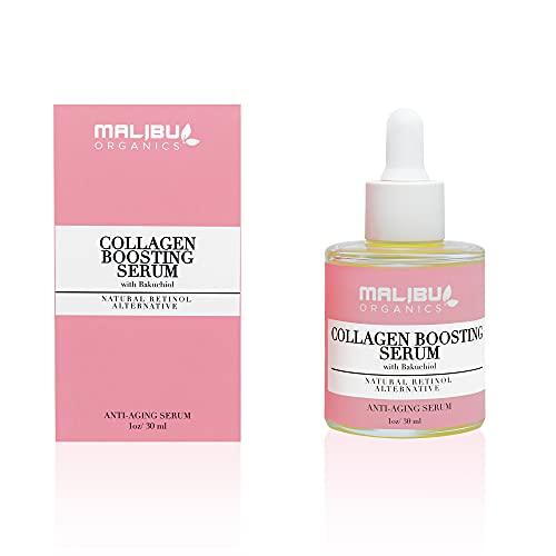 Malibu Organics Bakuchiol Serum Natural Collagen Boosting Face Serum Vegan Squalane, Organic...