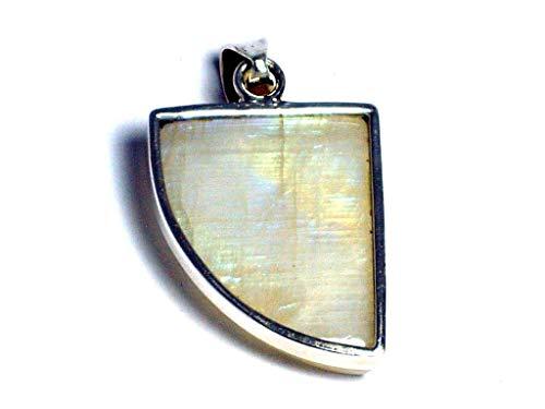 Gran arco iris Piedra Lunar plata de ley 925colgante de ge