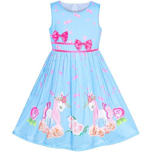 Vestido para niña Azul Unicornio Flor Verano Sol 6 años