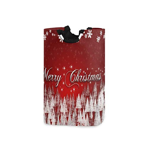 N\A Laundry Basket, Collapsible Fabric Laundry Hamper, Foldable Or Upright Clothes Bag (Red Christmas Tree and Snowflakes)