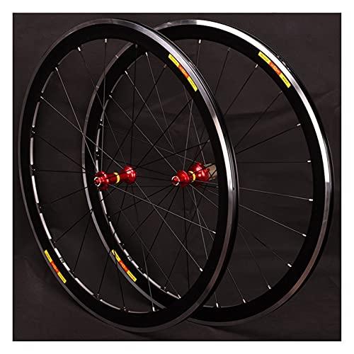 RUJIXU 700C Carretera Bicicleta 40mm Juego Ruedas Bicicleta V-Freno iberación Rápida Rodamientos Sellados Llanta Doble Pared Hub para 8-9-10-11 Velocidad Casete 1815g (Color : Red hub, Size : 700C)