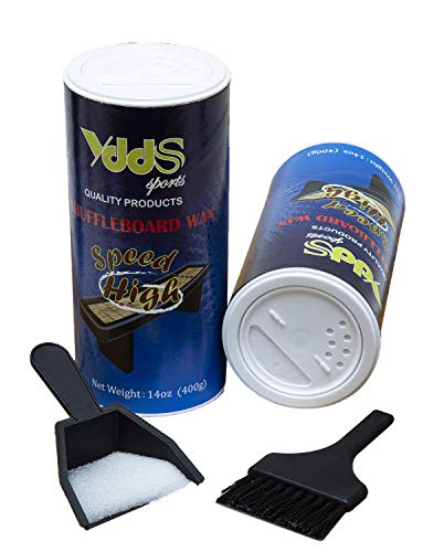 Shuffleboard Wax - Shuffleboard Sand 2 Pack with Mini Brush and Dustpan Set (2 x 14oz)