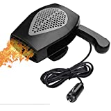 Car Heater, 12V 150W Portable Car Fan with Air Purification 2 in 1 Fast Heating & Cooling Function 3-Outlet, Plug in Cigarette Car Defroster(Black)