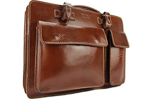 Business- und Laptoptaschen Italienische Luxus Aktentasche L (Braun)