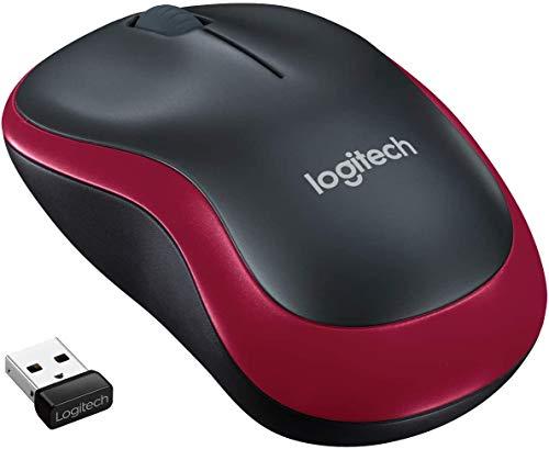 Logitech M185 Mouse Wireless, 2.4 GHz con Mini Ricevitore USB, Durata Batteria Fino a 12 Mesi, Rilevamento Ottico 1000 DPI, Ambidestro , PC Mac Laptop, Rosso