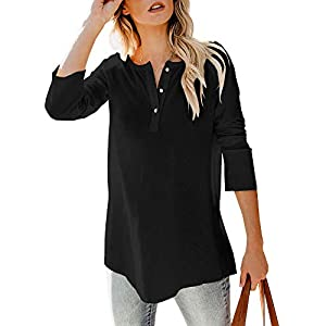 Women's Henley Shirts Sweaters V Neck Button Down Long Sleeve Casual Loose Waffle Knit Tunic Tops