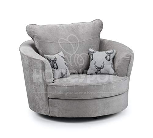 Honeypot - Verona Grey Fabric Corner Sofa - 3 Seater - 2 Seater - Armchair - Footstool (Swivel Chair, Grey)