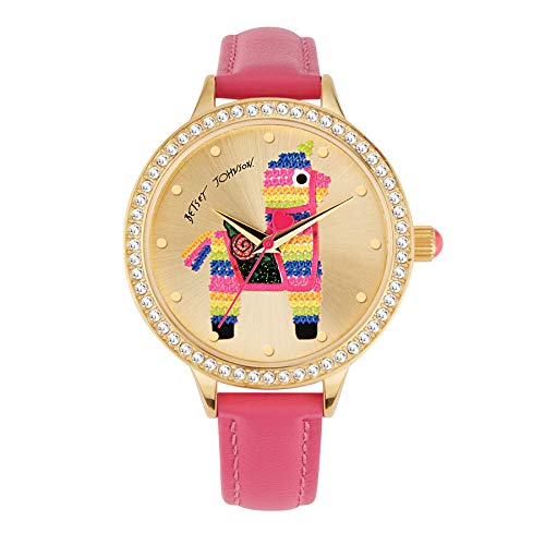 Betsey Johnson Women's Japanese Quartz Watch with Cloth Strap, Pink, 12 (Model: 294966GLD710)