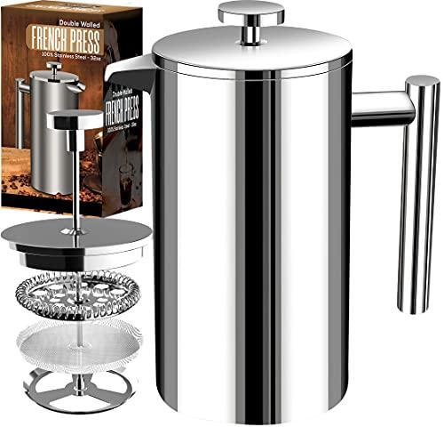 [1 Liter / 1000 ml} 8 cups Kaffeebereiter - Doppelwandige Edelstahl - Kaffeemaschine - Französische Kaffeepresse - Kaffeekanne - Französisches Pressensystem mit Edelstahlfilter - KICHLY