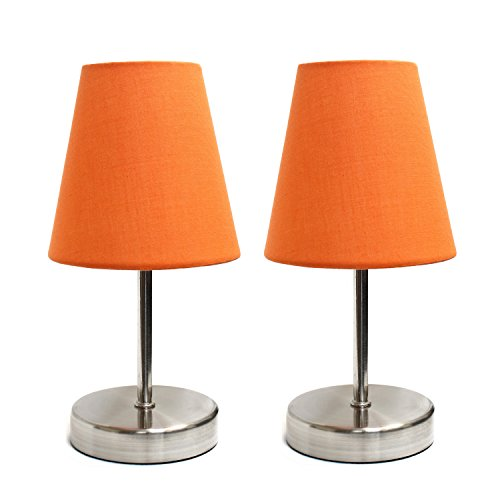Simple Designs Home LT2013-ORG-2PK Mini Basic 2PK Sand Nickel Table Lamp with Fabric Shade Set, 10.00 x 4.88 x 4.88 inches, Orange, 2 Count
