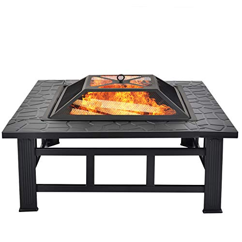 æ—  Fire Pit with Bbq Grill Shelf, Square Metal Firepit Outdoor Fireplaces Backyard Firepit for Patio Garden, Include Spark Screen and Round Fireplace Cover