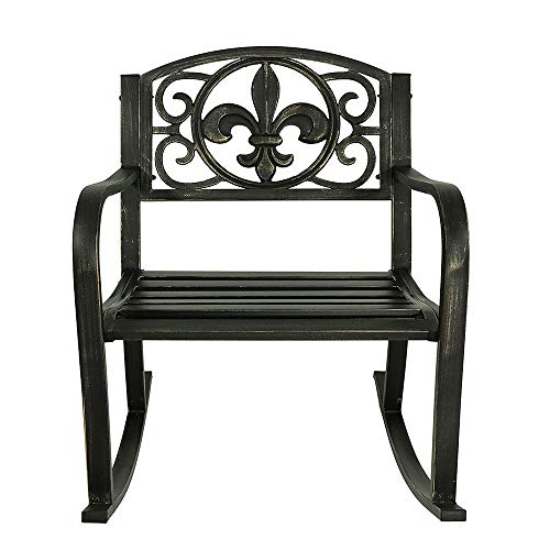 DQM Simple stylish outdoor patio rocking chair, with cushion, suitable for placing on the front porch, garden, lawn, adding a seductive feel to space, Give you a comfortable break