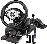 QDY 900 ° Juego de Carreras Volante Simulador de conducción de Camiones Profesional Freno de Mano + Juego de Pedales de Embrague Windows PC/Laptop compatibles, Negro